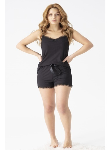 Pemilo Kadın 5530-7 Kaşkorse İp Askılı Pijama Takımı SİYAH Siyah